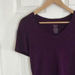 {Merona} Purple V-neck Stretchy Cotton Tee